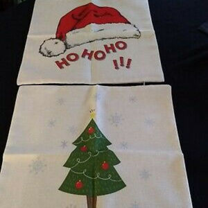 NEW SET 2 CHRISTMAS PILLOW COVERS SANTA TREE 17""